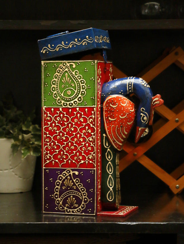 Rajasthani Art - Painted Wood Wine Box, Peacock - The India Craft House