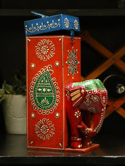 Rajasthani Art - Painted Wood Wine Box, Elephant