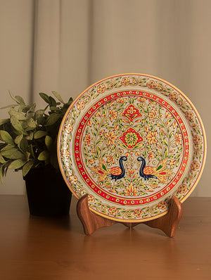 Rajasthani Marble Plate with Miniature Art - Floral Pattern & Peacocks (Large) - The India Craft House