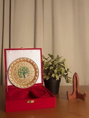 Rajasthani Marble Plate with Miniature Art -  Peacocks with Floral Border (Small)