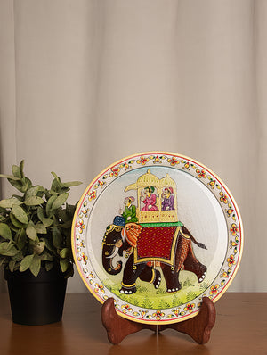 Rajasthani Marble Plate with Miniature Art, Large - King on Elephant