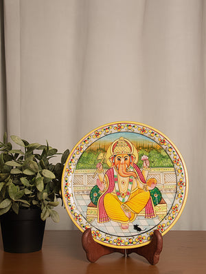 Rajasthani Marble Plate with Miniature Art, Large - Lord Ganesha - The India Craft House