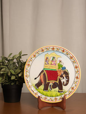 Rajasthani Marble Plate with Miniature Art, Large - Queens on Elephant - The India Craft House