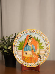 Rajasthani Marble Plate with Miniature Art, Large - Woman with Bird
