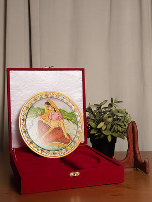Rajasthani Marble Plate with Miniature Art, Large - Woman with Peacock - The India Craft House