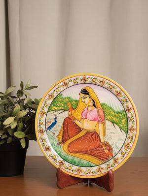 Rajasthani Marble Plate with Miniature Art, Large - Woman with Peacock