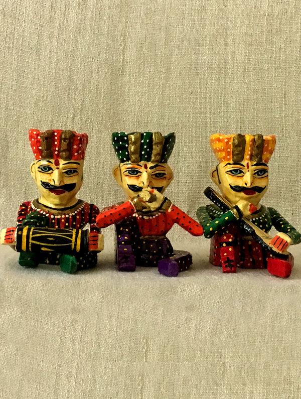 Rajasthani Wood Curio - Musician Set of 3 - The India Craft House