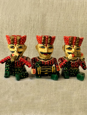 Rajasthani Wood Curio - Musician Set of 3