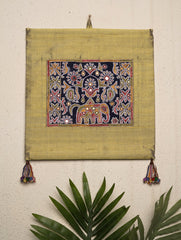 Raw Silk with Fine Kutch Embroidery - Wall Hanging, Small