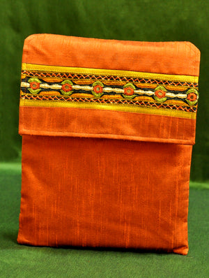 Raw Silk Kutch Embroidered iPad Cover - Orange with Flap