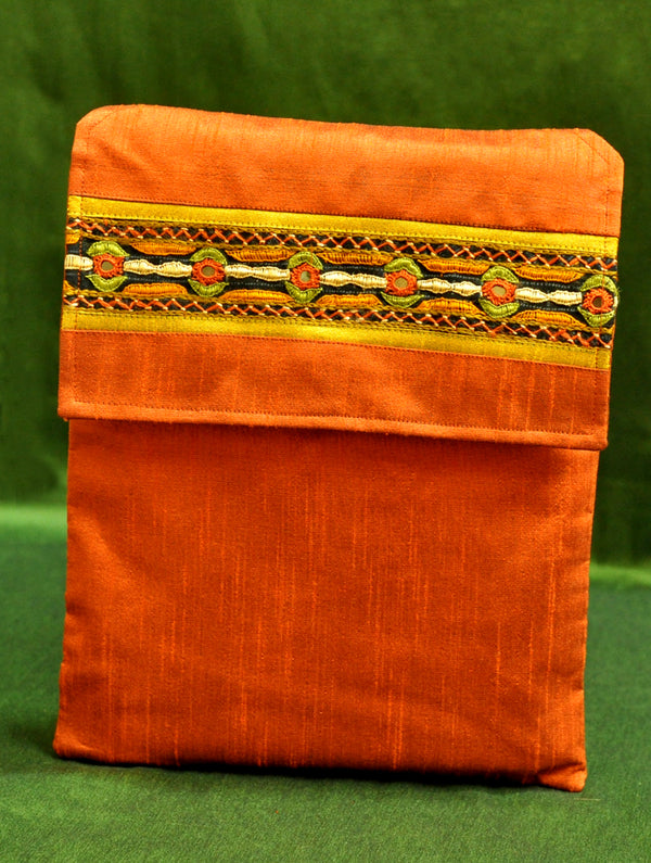 Raw Silk Kutch Embroidered iPad Cover - Orange with Flap - The India Craft House