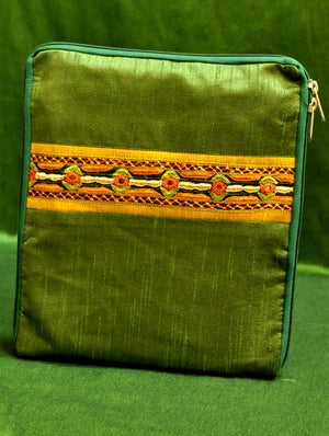 Raw Silk Kutch Embroidered iPad Cover - Green with Zip