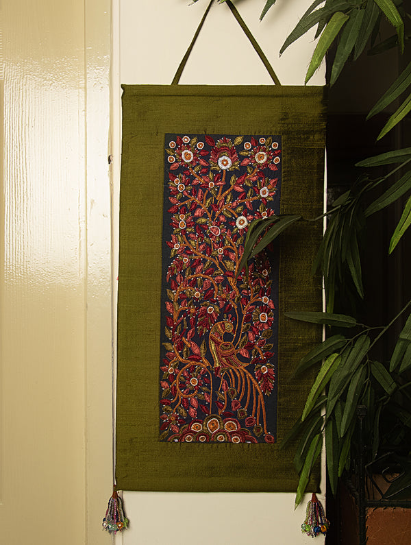 Raw Silk with Fine Kutch Embroidery - Wall Hanging - The India Craft House