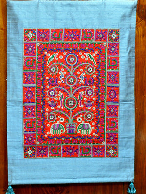 Raw Silk with Fine Kutch Embroidery - Wall Hanging, Red on Blue