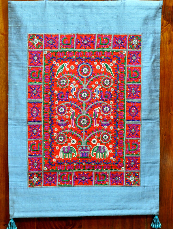 Raw Silk with Fine Kutch Embroidery - Wall Hanging, Red on Blue - The India Craft House