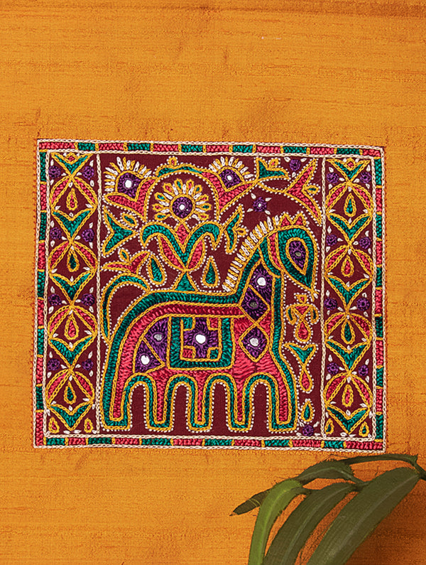 Raw Silk with Fine Kutch Embroidery - Wall Hanging, Small - The India Craft House