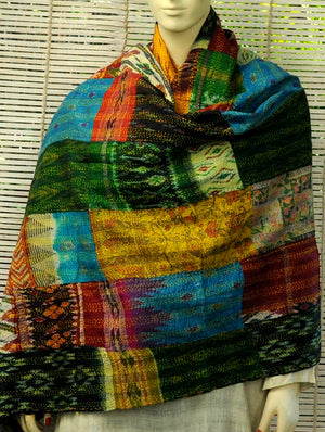 Reversible Patchwork Kantha Dupatta, Multicoloured