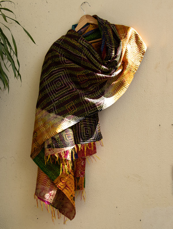 Reversible Silk Patchwork Kantha Dupatta - The India Craft House