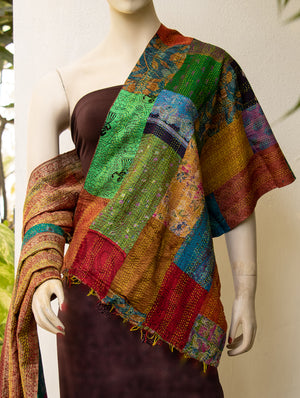Reversible Silk Patchwork Kantha Stole