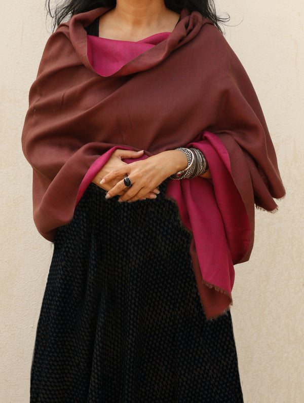 Reversible Soft Kashmiri Wool Stole - The India Craft House