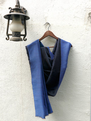 Reversible Soft Kashmiri Wool Stole, Blue & Black