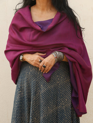Reversible Soft Silk Wool Kashmiri Stole - The India Craft House