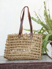 Sabai Grass Tote Bag / Basket With Leather Handles - (Medium)