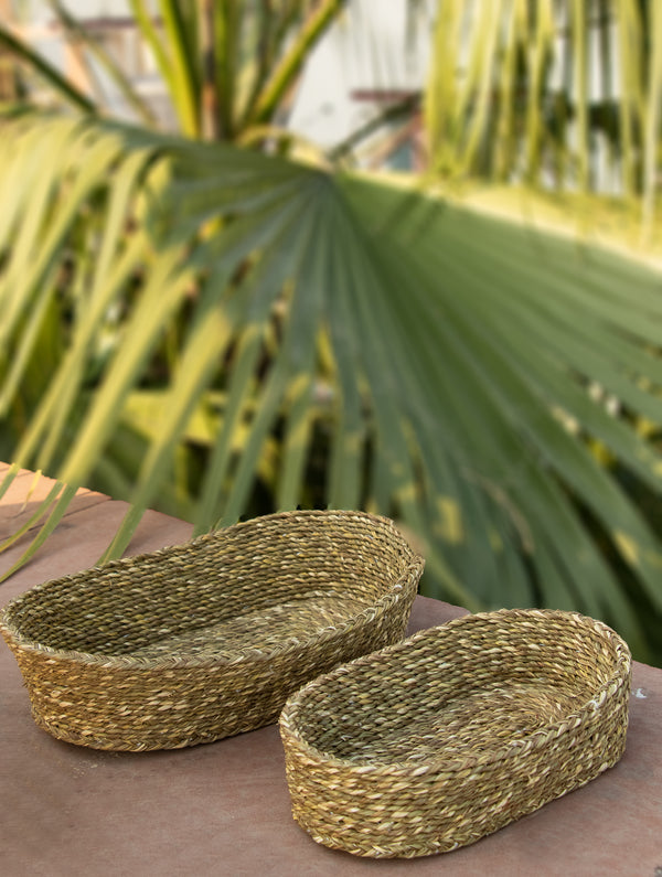 Sabai Grass Oblong Multi-Utility Baskets - Set of 2 - The India Craft House
