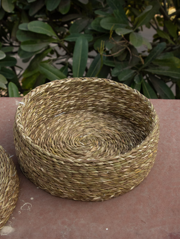 Sabai Grass Round Multi-Utility Basket With Lid - The India Craft House