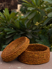 Sabai Grass Round Multi-Utility Basket with Lid