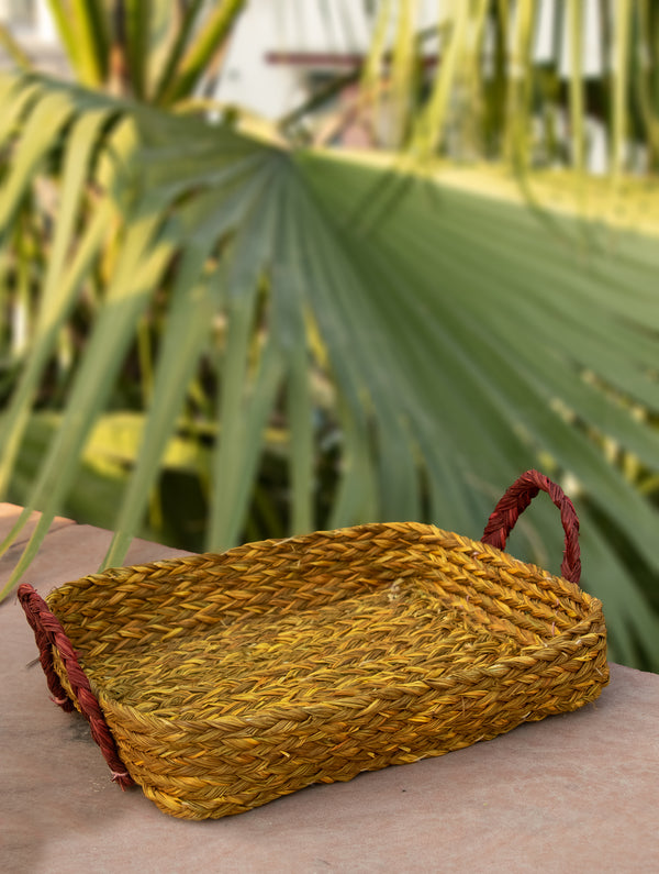 Sabai Grass Square Multi-Utility Basket with Handles - The India Craft House
