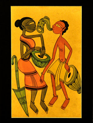 Santhal Tribal Art - Painting with Mount