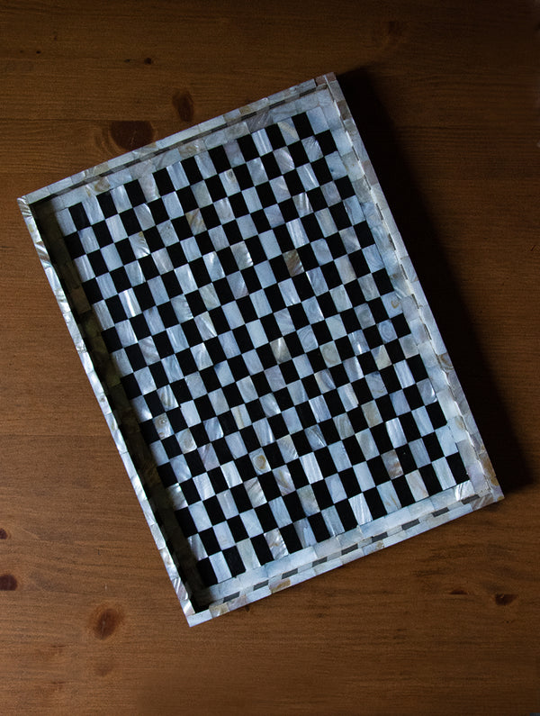 Shell Craft - Wood Tray, Black & White, Large - The India Craft House