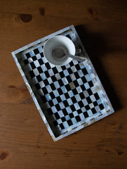 Shell Craft - Wood Tray, Chequered, Small