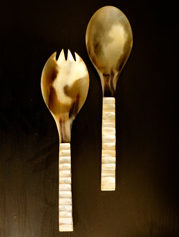 Shell Craft Salad Spoons- Set of 2 - The India Craft House