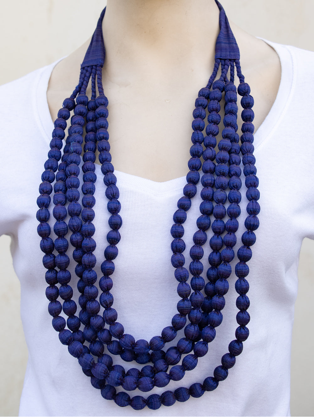 Silk Fabric Beads Multi String 5 Strings The India Craft House