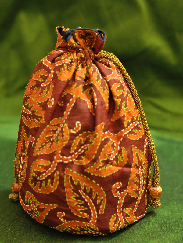 Silk with Kantha Embroidery - Potli Bag - The India Craft House
