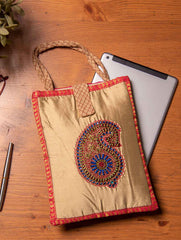 Silk iPad / Tablet  Case With Zardozi Embroidery With Handles - 11 x 8.5 inches