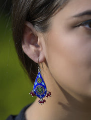 Silver Meenakari Earrings - Drops