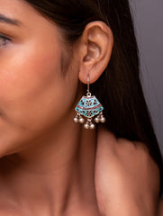 Silver Meenakari Earrings - Fan Shaped