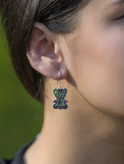 Silver Meenakari Earrings - Peacocks (Small)