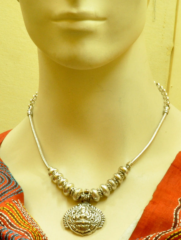 Silver Finish Traditional Necklace Heavy - The India Craft House