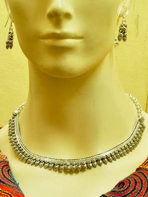 Silver Finish Traditional Necklace with Ear Ring
