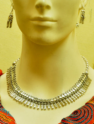Silver Finish Traditional Necklace with Ear Ring - The India Craft House