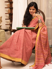 Simple Elegance. Handloom Khadi Cotton Andhra Saree (With Blouse Piece)