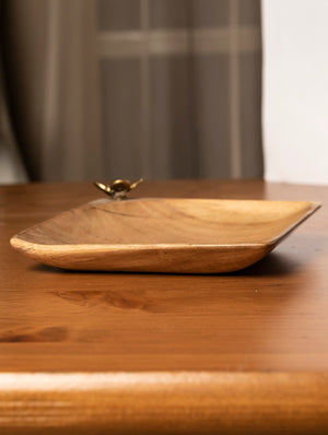 Small Wooden Utility Tray with Brass Flower