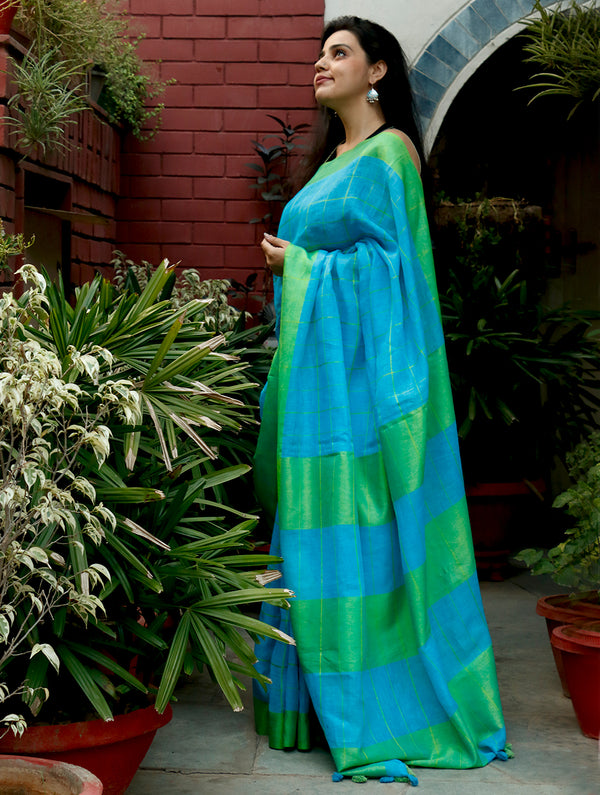 Smart Linen  Saree with Large Checks - Turquoise Blue & Vivid Green - The India Craft House