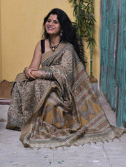 Soft Elegance. Fine, Light Block Printed Chanderi Saree (With Blouse Piece)