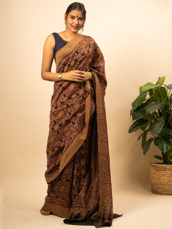 Soft & Elegant Chanderi Silk Ajrakh Block Printed Saree With Temple Border (With Blouse Piece)