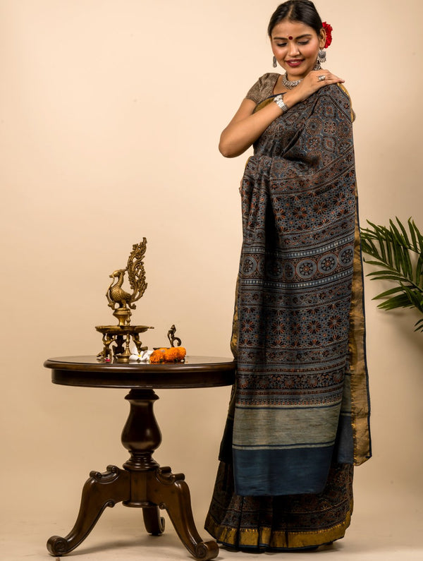 Soft & Elegant Maheshwari Silk Ajrakh Block Printed Saree (With Blouse Piece)